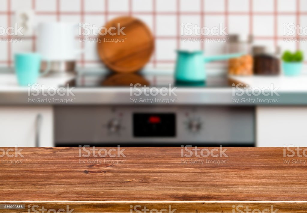 Photo de Texture Une Table En Bois Sur Fond De Banc De Cuisine Et ...