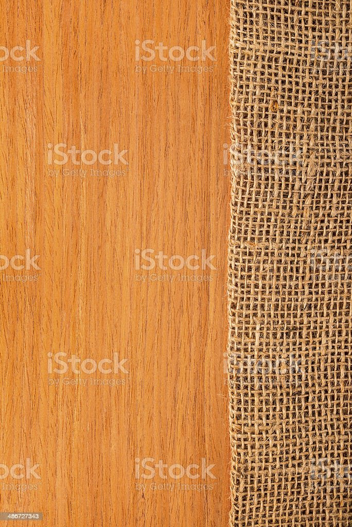 wood texture with hessian, rural style stock photo