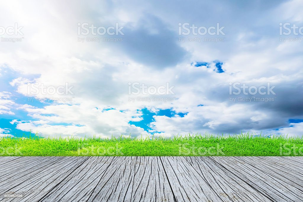 wood textured backgrounds on the sky field backgrounds stock photo