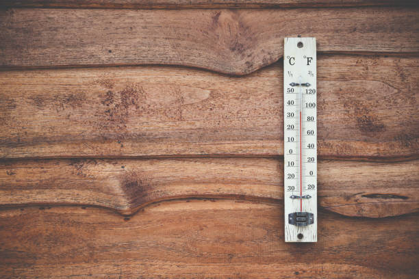 Wood thermometer calibrated in degrees celsius on the wooden wall, concept of world hot and weather. stock photo