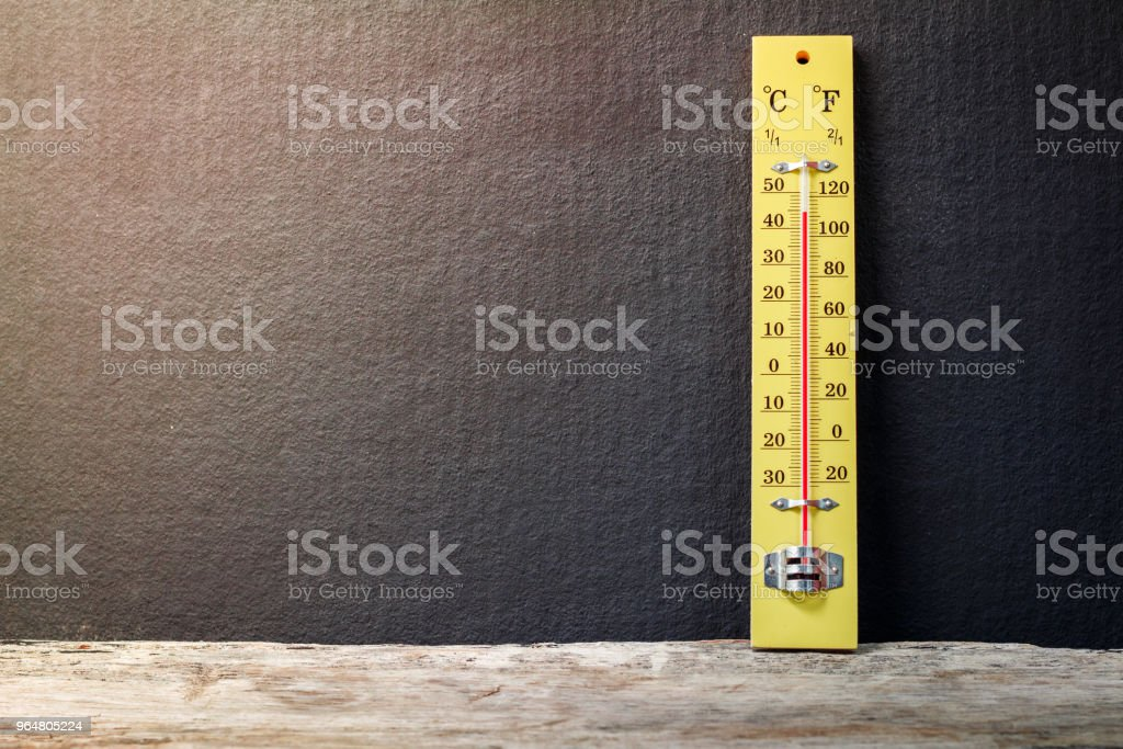 Wood thermometer on wooden table royalty-free stock photo
