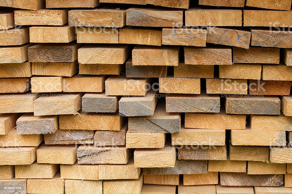 Wood timber construction material. Wooden planks stock photo