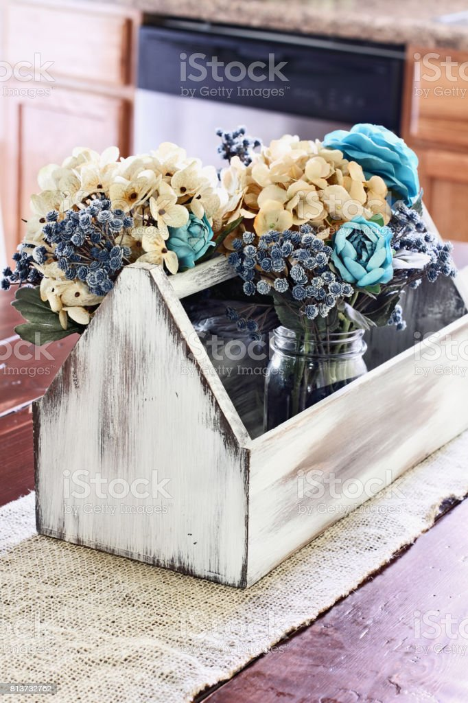 Wood Toolbox With Mason Jars And Flowers Stock Photo More Pictures