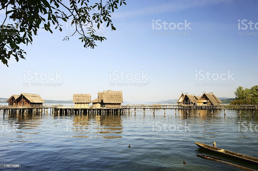Wood Town at Lake Constance Unteruhldingen Coast View Summer stock photo