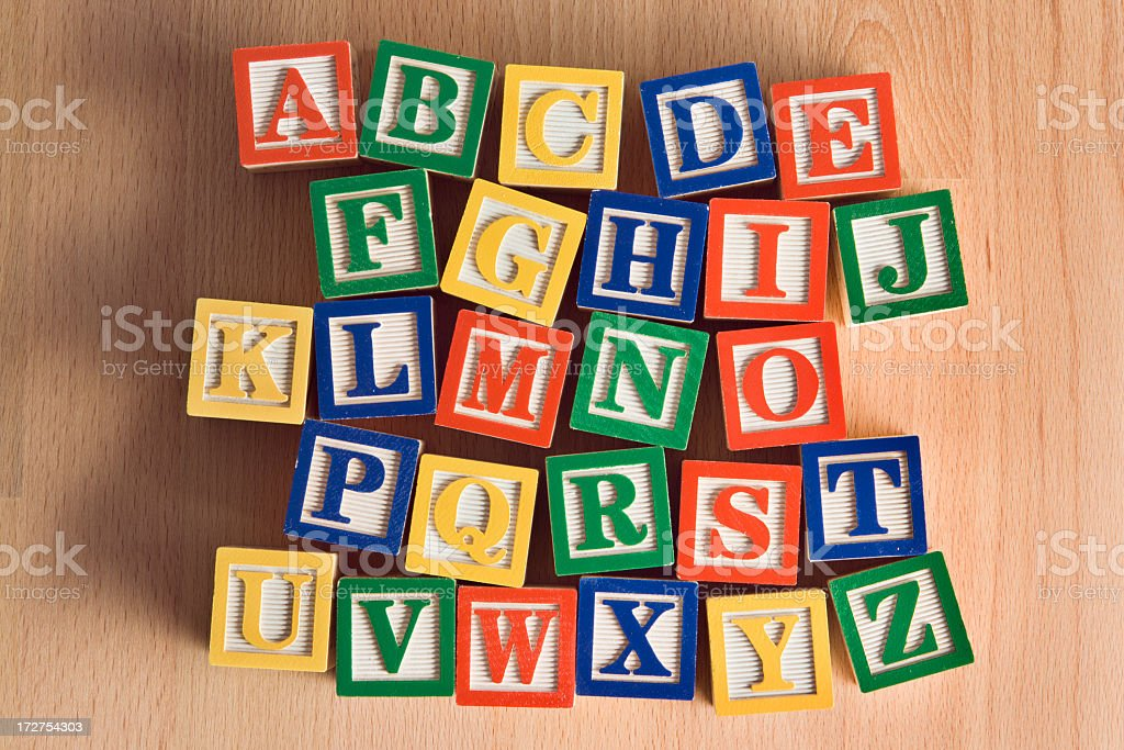 Wood Toy Alphabet Blocks in Alphabetical Order, A to Z royalty-free stock photo