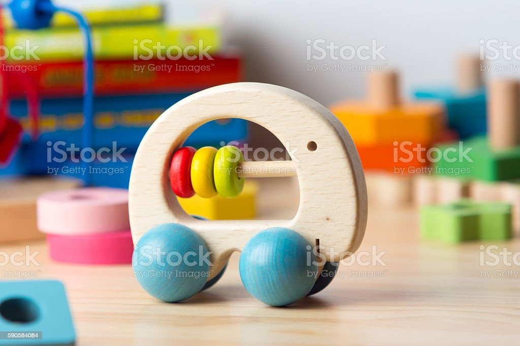 Colorful didactic wooden toys.