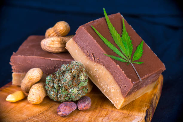 Wood tray with Cannabis infused chocolate peanut fudge