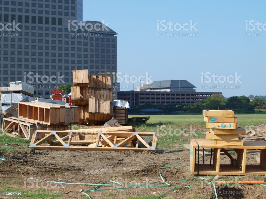 Wood Trusses Arrive On Job Site In Las Colinas stock photo