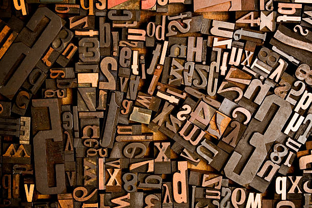 wood type conglomerate - letterpress stock photos and pictures