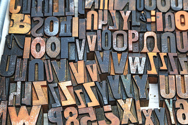 Wood type letting stock photo