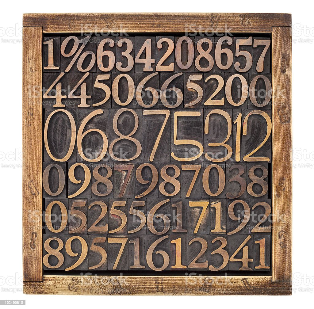 wood type numbers in box royalty-free stock photo