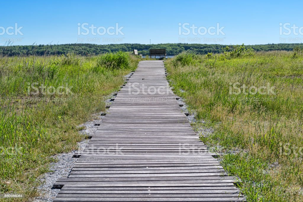 Wood walkway at Sandy Point Stockton Springs Maine stock photo