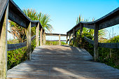 Wooden walkway for access over sand dunes to beach.  Vegetation around walkway with blue sky