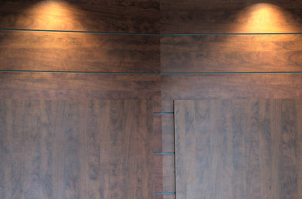 royalty free wood wall and lights studio for presentation or