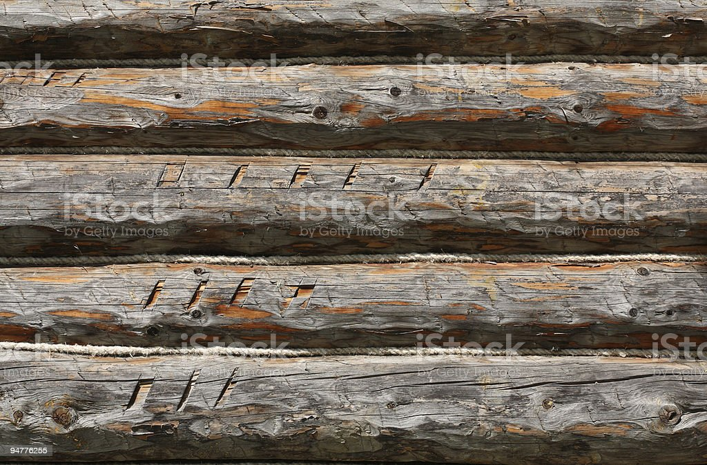 Wood wall background - wooden logs stock photo