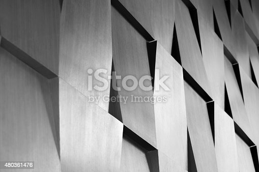 istock Wood wall geometry decoration 480361476