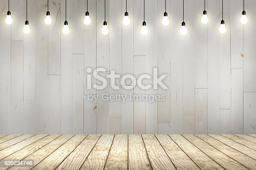 istock wood wall with bulb lights lamp. 639234746