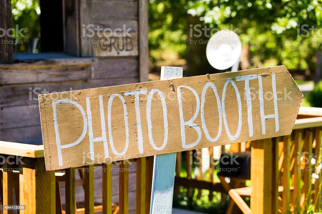 Wood Wedding Photobooth Sign stock photo