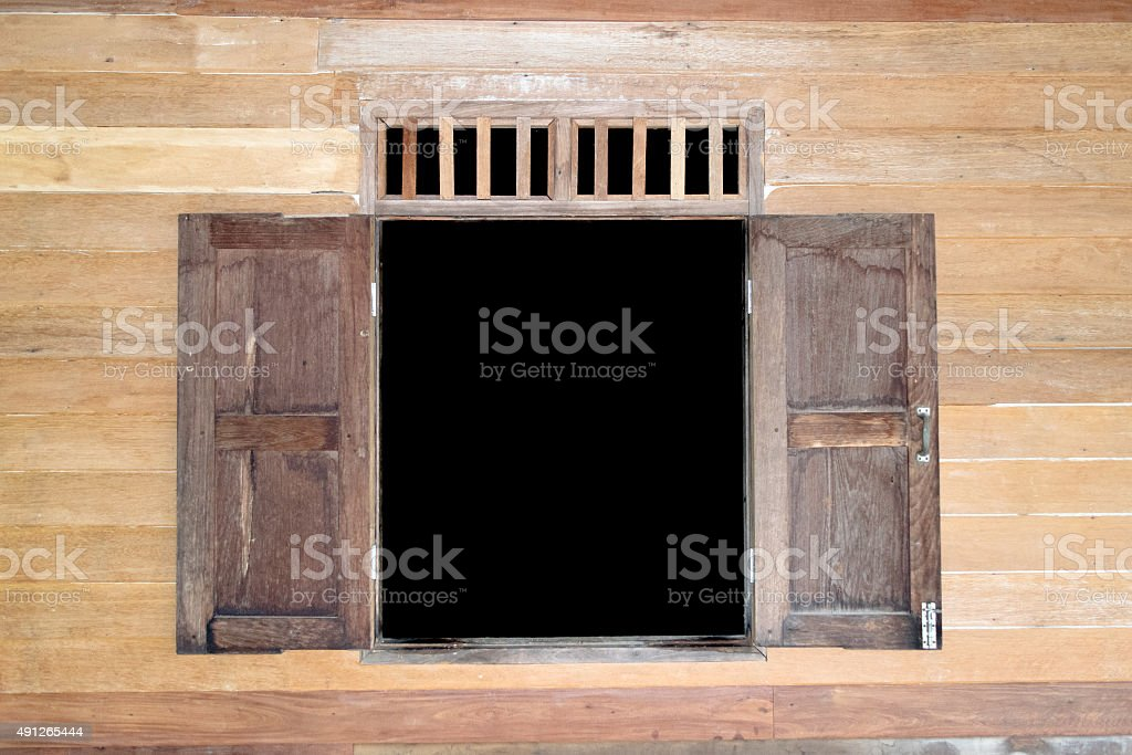wood window and wood wall stock photo