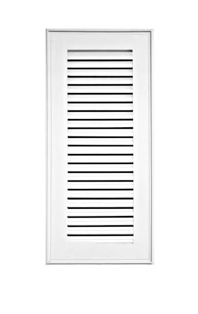 Wood window shutter white isolated on white background. stock photo