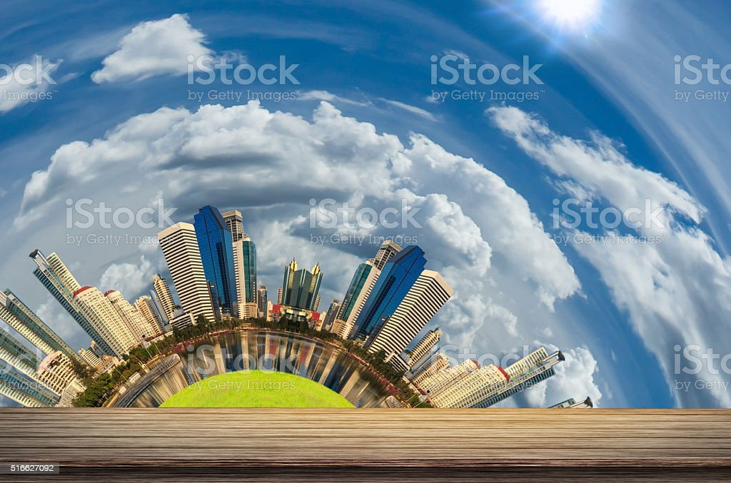 Wood with city stock photo