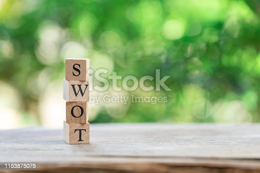 istock wood word SWOT placed on wood table as background strategy concept and Business concept with copy space. 1153875075
