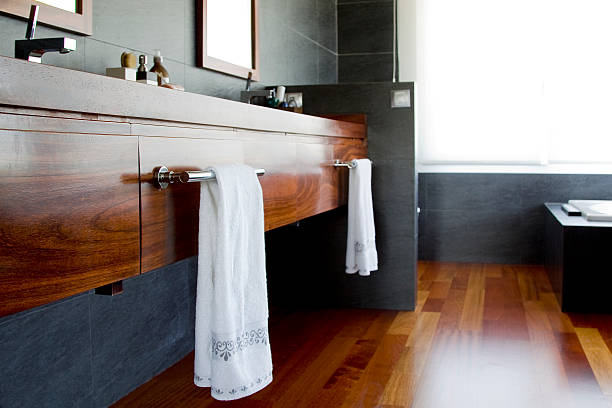 Wood´s details in bathroom Details of Towel rail as a bathroom estudio stock pictures, royalty-free photos & images