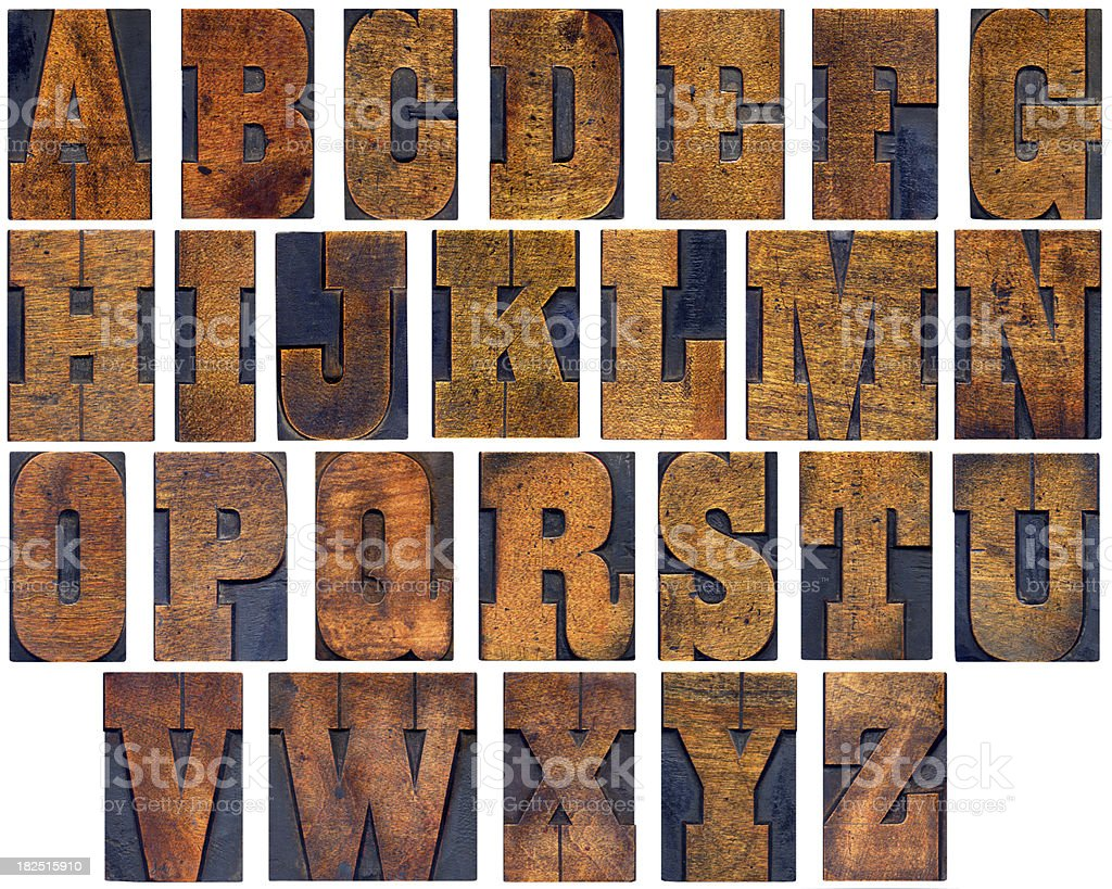 Woodblock alphabet stock photo