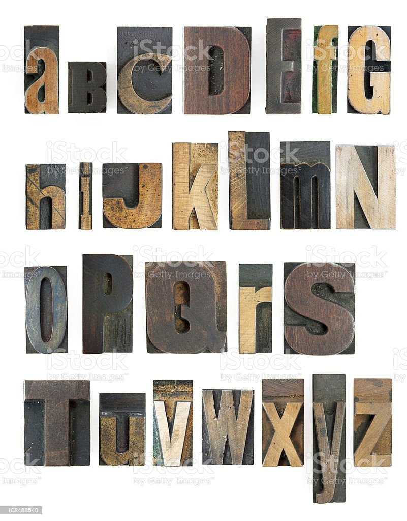 Woodblock cut letters of the alphabet in various font types royalty-free stock photo
