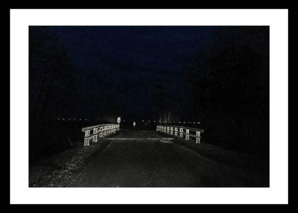 Wood-Bridge in the night stock photo