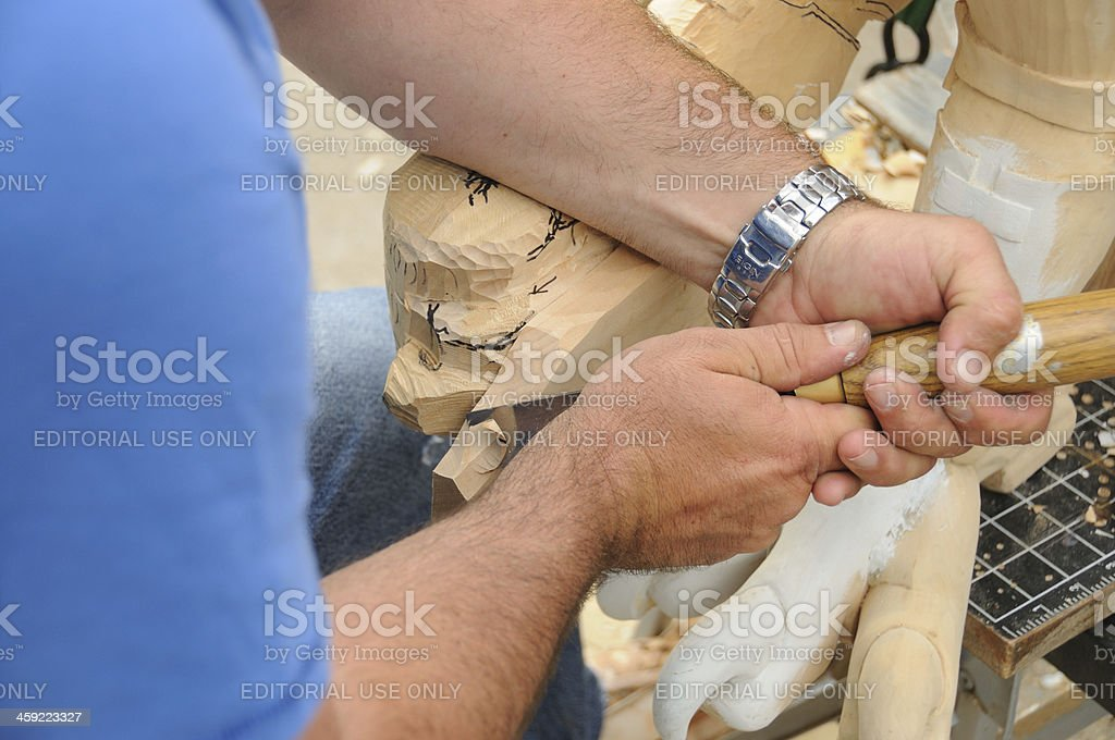 Woodcarvers Hands stock photo