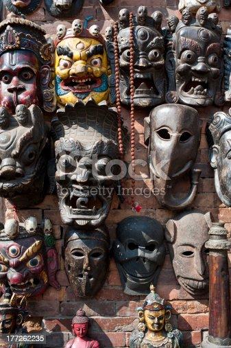 istock Woodcarving masks hang, Nepal 177262235