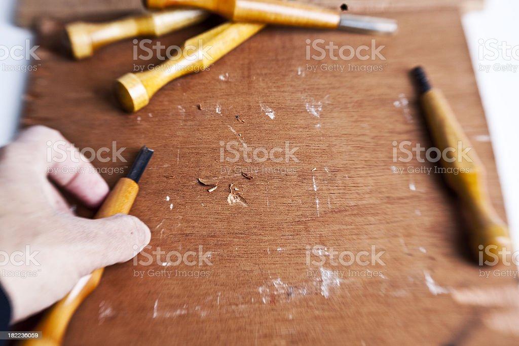 woodcut artist stock photo