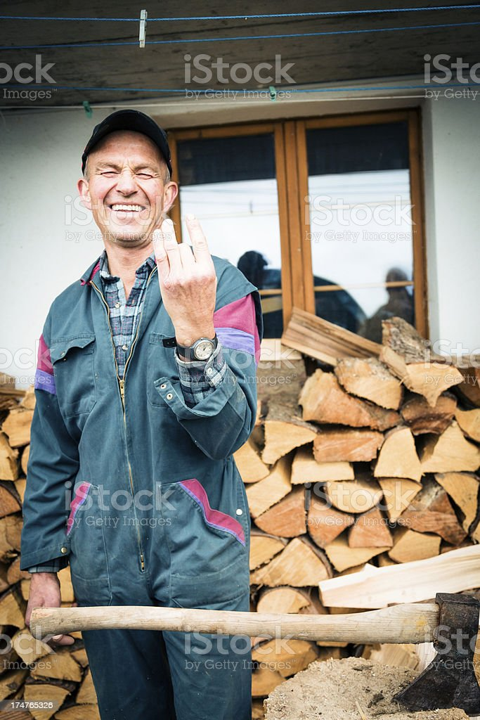 woodcutting accident stock photo