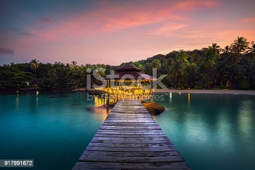 Wooded bridge and pavolion in Koh Kood in Trad with morning sunrise, Thailand, This immage can use for Resort, Beach, Holiday, summer, romantic and travel concept