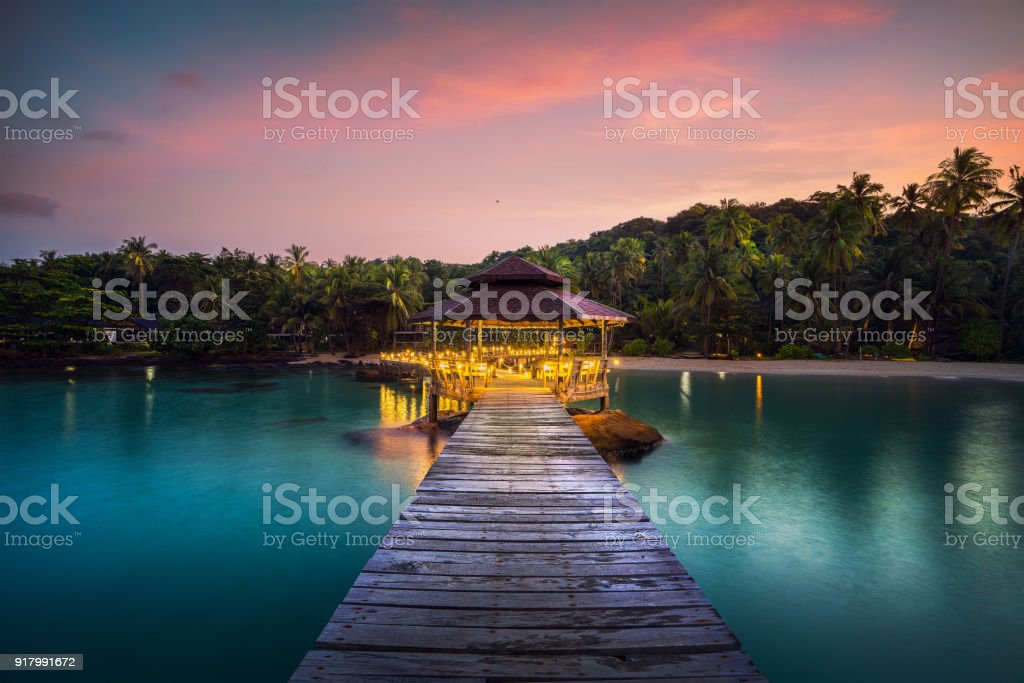 Wooded bridge and pavolion in Koh Kood in Trad stock photo