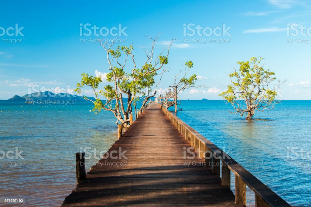 Wooded bridge in the port stock photo