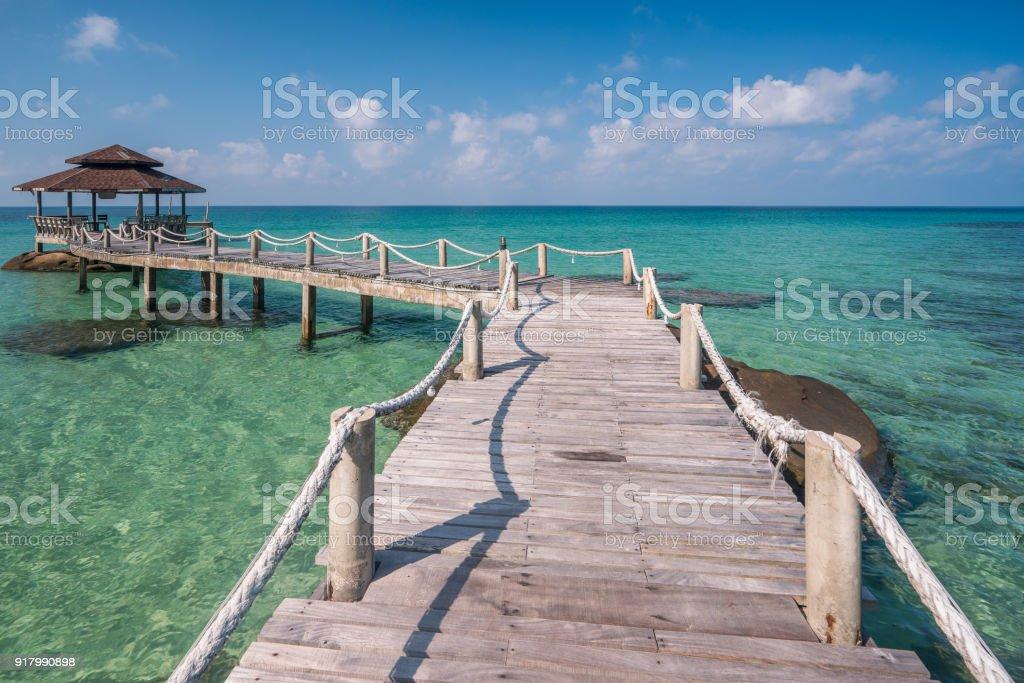 Wooded bridge to pavilion at Koh Kood island stock photo
