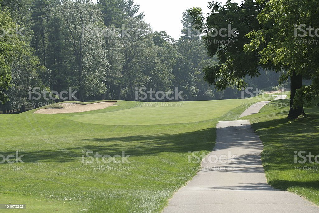 Wooded Fairway stock photo