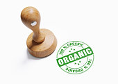 Wooden 100 % Organic Stamp On White Background