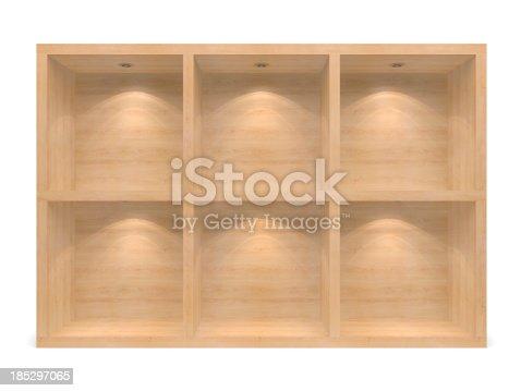 istock wooden 3d Empty racks 185297065