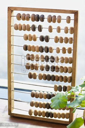 wooden abacus calculating frame on window background