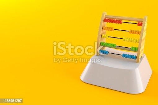 Wooden abacus on computer key isolated on orange background. 3d illustration