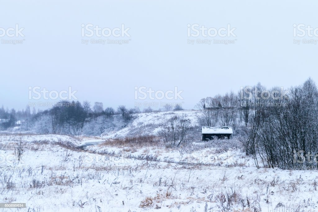 Wooden abandoned house with broken roof on the bank of a small river. Winter dull landscape. stock photo