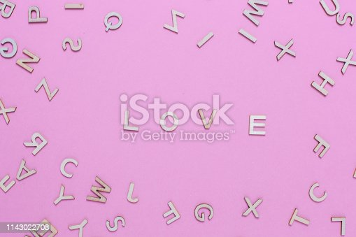 613303142 istock photo Wooden ABC alphabet letters on pink background 1143022708