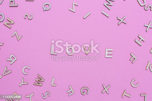 613303142 istock photo Wooden ABC alphabet letters on pink background 1143022836