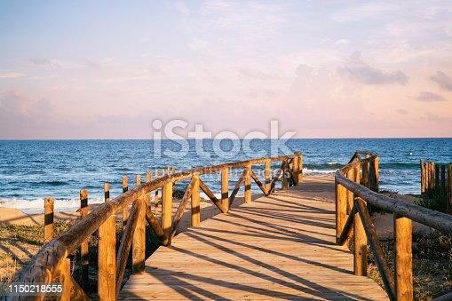 foot bridge of access to the beach. Guardamar del Segura. Spain