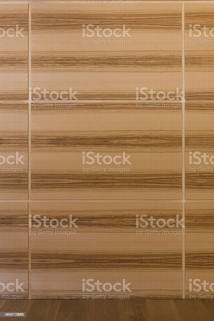 wooden acoustics  wall with gaps and dark grain stock photo