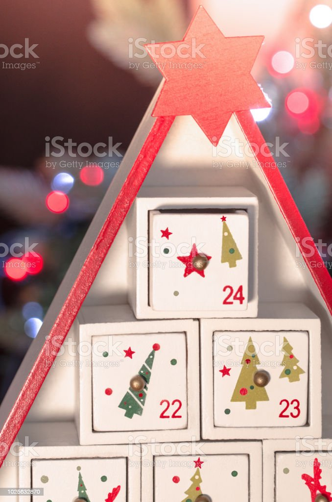 Wooden advent calendar Christmas stock photo
