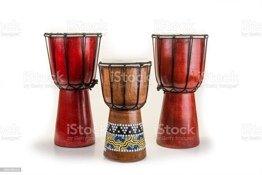 Wooden african handmade djembe drum on white stock photo